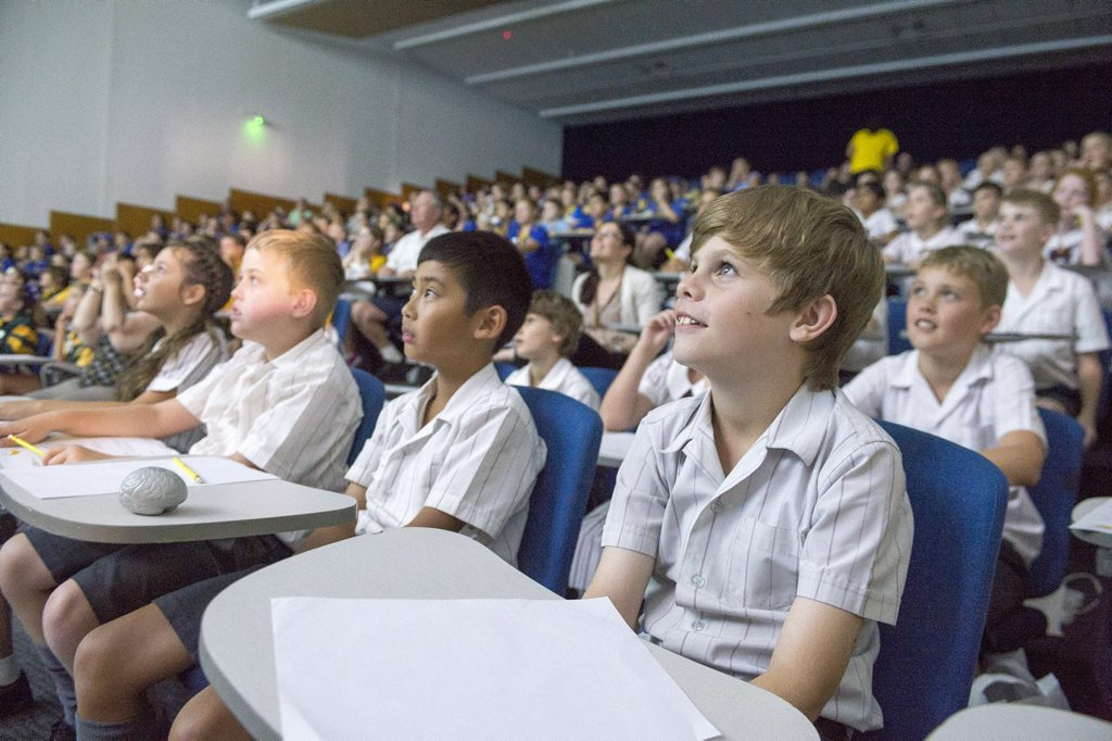 More than 500 primary school students from across the region descended on USQ Springfield for the Space and Sustainability Conference. Photo Contributed