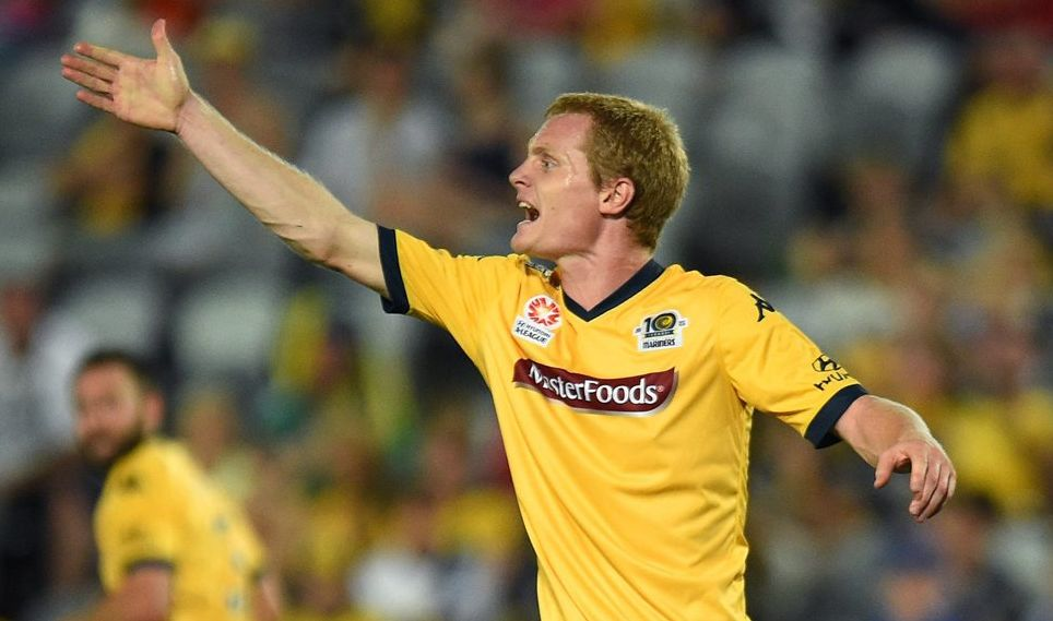 Matt Simon in his playing days with the Central Coast Mariners. Photo: AAP Image/Dan Himbrechts.