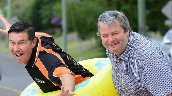 READY, SET, GO: The City Slider director Stuart Harris (right) with Cr Andrew Antoniolli are gearing up for this weekend's waterslide event.