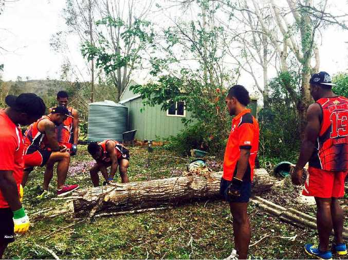 A Fijian football team was amongst those who chipped in to help.