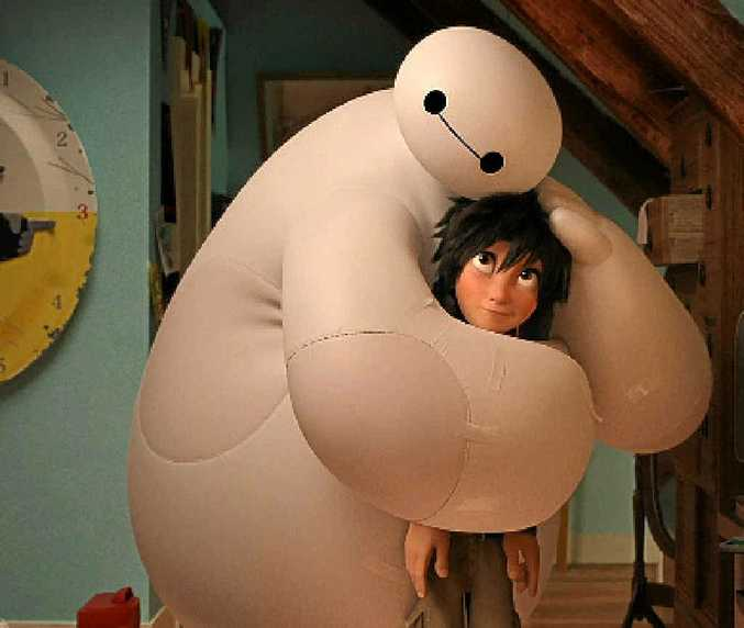 Baymax and Hiro in a scene from the movie Big Hero 6.