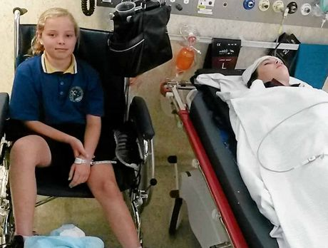 Below: Brianne, 10, and Madisyn, 14, were two of nine students in hospital on Monday. Madisyn's injuries, four days later.