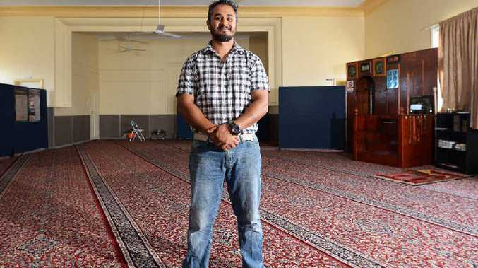 OPEN DAY: Binil Kattibarambil secretary of Central Queensland's Islamic Society prepares for today's mosque open day.
