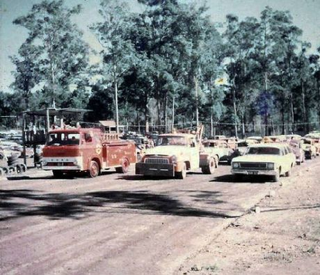 Grand Parade of vehicles at the Speedway track, Wappa Falls Rd, Yandina, 1971.