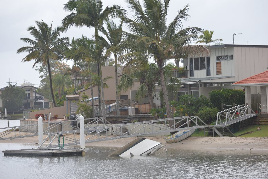 Boat sunk in the Tuckers Creek Canal near Coppabella Cresent, Mooloolaba. Photo Patrick Woods / Sunshine Coast Daily