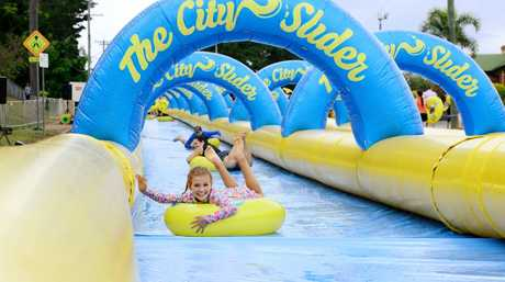Peyton Snerling, 9, of Karalee was one of thousands who rode the The City Slider waterslide on Saturday. Photo: David Nielsen / The Queensland Times