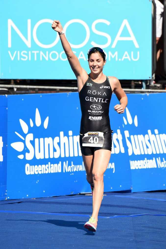 Ashleigh Gentle as stormed home to win her third Noosa Triathlon.