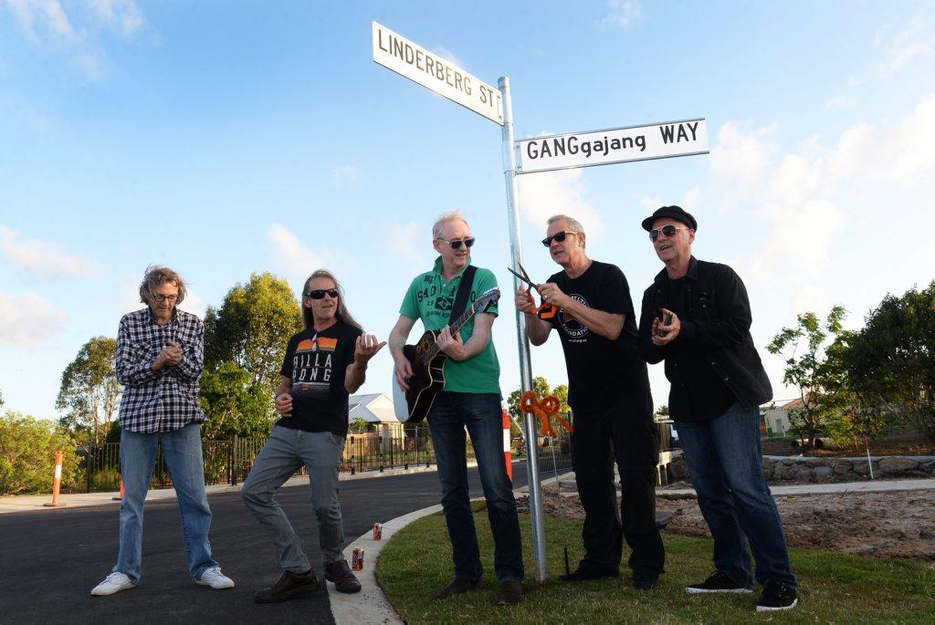 GANGGAJANG WAY: Peter Willersdorf, Robbie James, Mark Cal Callaghan, Buzz Bidstrup and Geoff Stapleton. Photo: Mike Knott / NewsMail