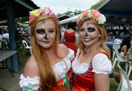 Justine King and Skye McLauchlan at the Emu Park Oktoberfest on Saturday at Bell Park. Photo: Chris Ison / The Morning Bulletin