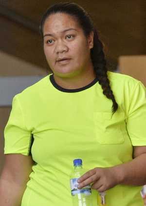 ON PAROLE: Jascinda Ngavaine Teroi leaves Ipswich Courthouse after she was charged with public nuisance and wilful damage charges.
