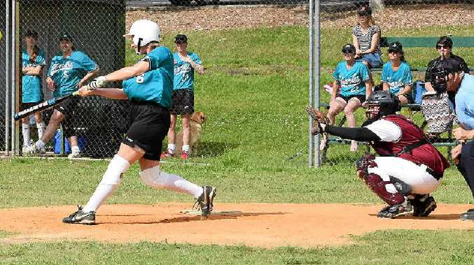 Ballina Sharks batter Michelle Lucas unwinds in the clash against Dodgers Devils at Albert Park on Saturday.