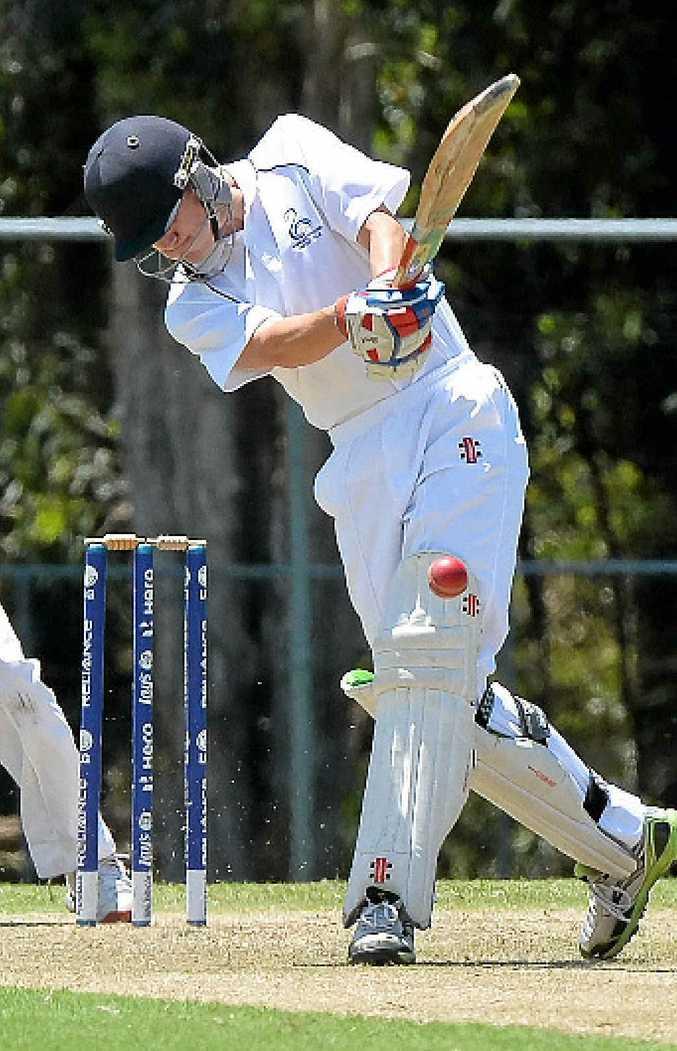 SHOT: Maroochydore Red batsman Nathan O'Mara drives down the ground against Glasshouse at Buderim on Saturday.