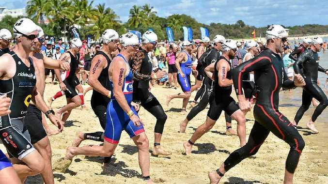 READY, GO: Competitors start the Noosa Triathlon at Noosa Main Beach yesterday.