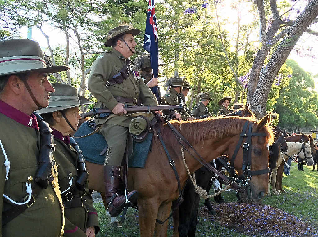 HONOUR: The Woombye Light Horse Troop form up at the dedication of the new memorial.