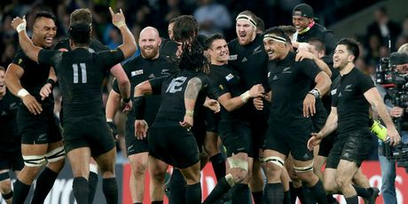The All Blacks celebrate winning the World Cup