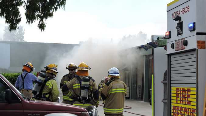 Five fire appliances and 22 firefighters battled a blaze at Noosa Radiators and Air Conditioning in Project Ave.