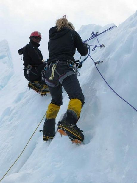Alyssa Azar climbing Mt Everest last year.