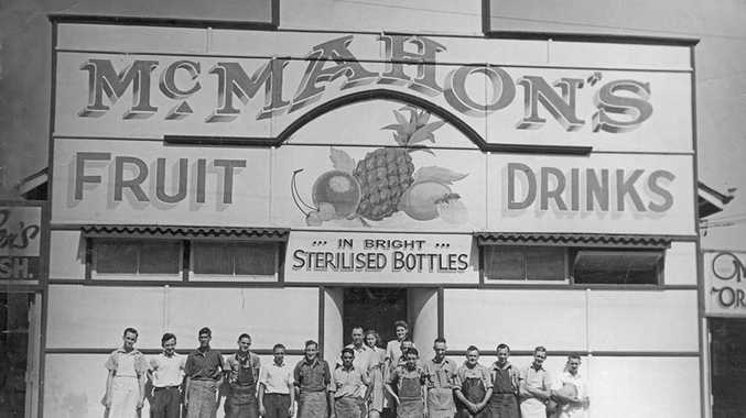 Staff in front of McMahon's Soft Drink factory in 1951. Photo courtesy of Whitehead Studios and Picture Ipswich.