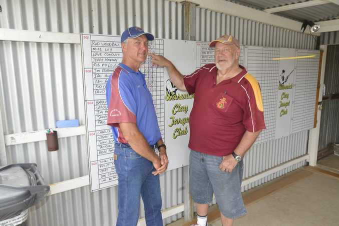 Rodney Woodrow (Wandoan) and Ian House (Warwick club) at the Warwick Clay Target Club Monthly Shoot yesterday.