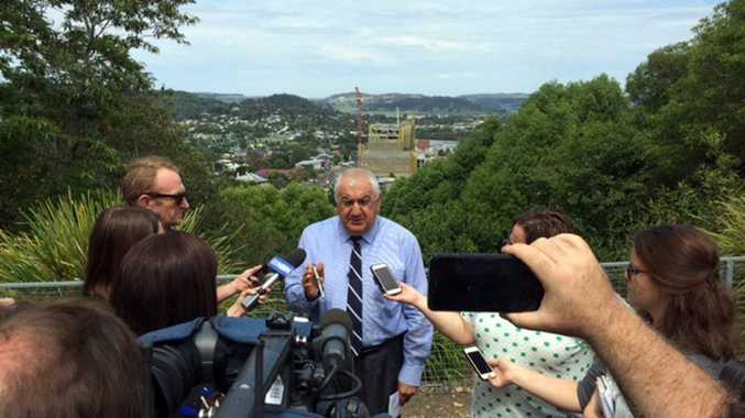 Lismore MP Thomas George making an announcement about the Metgasco CSG licence. Photo Marc Stapelberg / The Northern Star