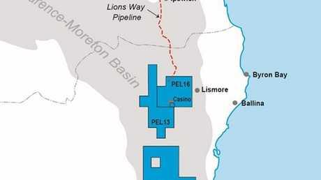 Map showling Metgasco's PEL 16, 13,426. Photo Contributed Metgasco