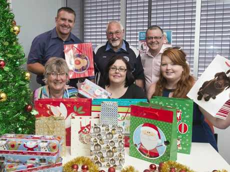 Launching APN's annual Adopt-A-Family appeal are (from left) patron Shane Webcke, Lifeline's Pam Delander, St Vincent's de Paul's John Dent, UnitingCare Community's Robyn Giddings, APN Australian Regional Media CEO Neil Monaghan and the Salvation Army's Sarah Huybregts.