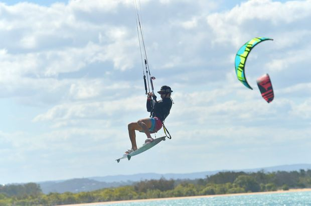 Kite surfing at Cotton in the Maroochy River. Photo: Warren Lynam / Sunshine Coast Daily