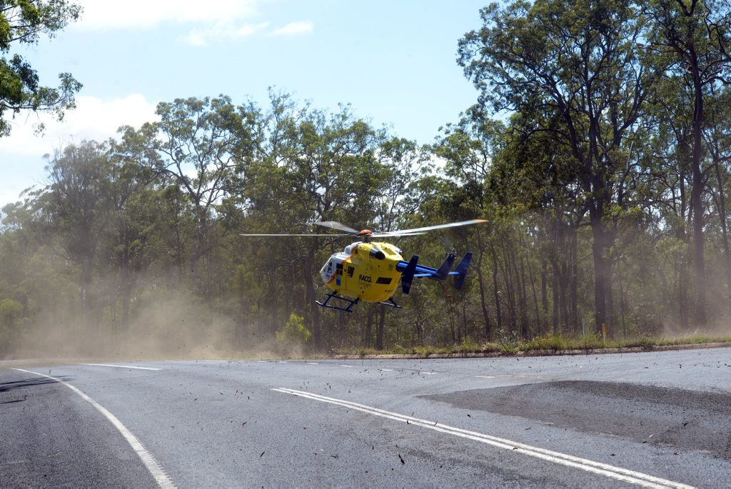 FATAL CRASH: RACQ Careflight helicopter airlifted a policeman who was involved in a fatal crash on Rosedale Road on Monday, 2 November 2015. Photo: Max Fleet / NewsMail