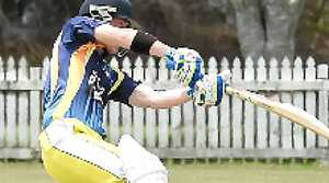 BOLT FROM THE BLUE: Northern Inland Bolters batsman Michael Dawson hits out during the Regional Bash Twenty20 cricket match against Northern Rivers Rock at Fripp Oval, Ballina, yesterday.