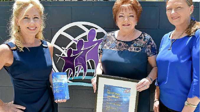 BIG WIN: Meridan State College deputy principal Mandy White, executive principal Julie Kornmann and deputy principal Jenny Fietz accept the award for Queensland School of the Year.