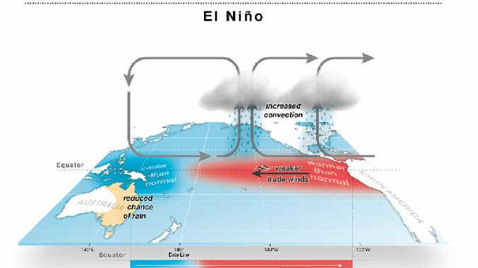 During El Niño, the trade winds weaken and the central and eastern tropical Pacific warms up.