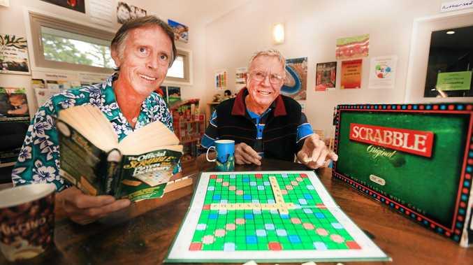 SHOWDOWN: Pottsville Scrabble tryants Doug Butterfield and Graeme Forsyth  at the Pottsville Neighbourhood Centre.