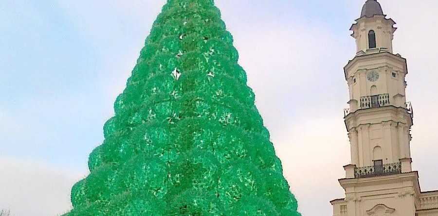 NO JOY: Mayor Katie Milne suggested a tree like this one in Kauna, Lithuania. It is made from 40,000 recycled soda bottles and zip ties.