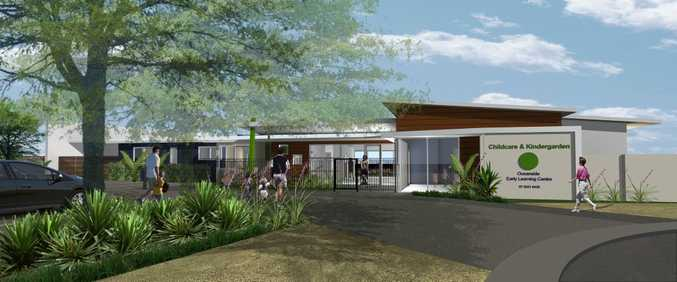 An artists impression showing the entrance to a new childcare centre at Oceanside Kawana.