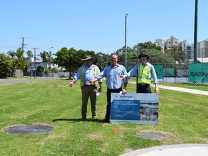 Jason OPray explains the new stormwater drains in Maroochydore
