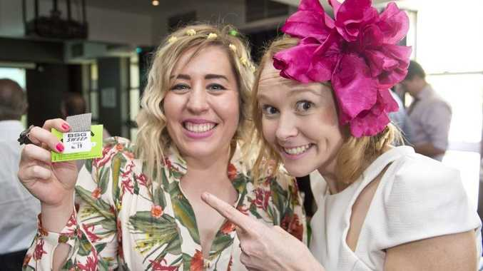 Lizzie Hanrick (left) celebrates her win in the 2015 Melbourne Cup with Maree Gillam at the Southern Hotel.