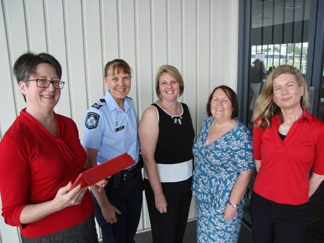 USQ's Dr Jenny Ostini (far left) is working on digital safety strategies for communities and is pictured with (from left) Queensland Police officers Wendy O'Neill and Nadine Webster, Ipswich City Council Mayoress Janet Pisasale and USQ's Dr Susan Hopkins.