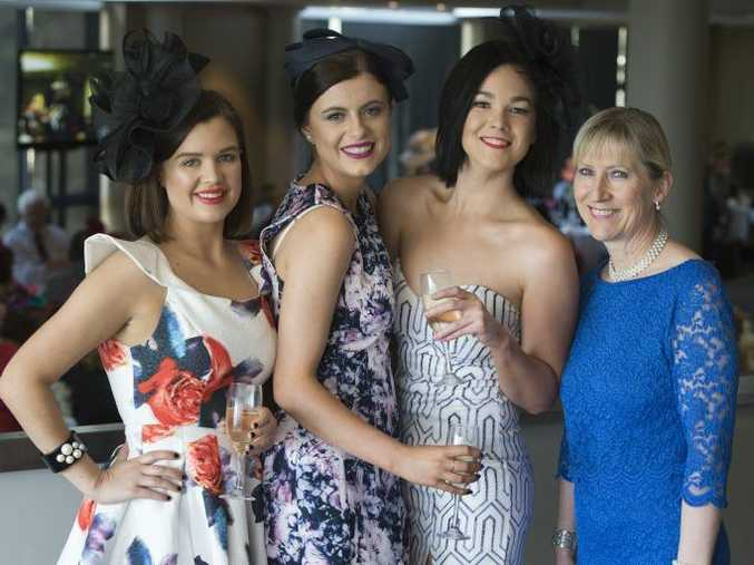 Enjoying the Rotary Club Toowoomba City Melbourne Cup luncheon are (from left) Madison Bausch, Ashleigh Marsh, Elizabeth McConnell and Desley Lock.