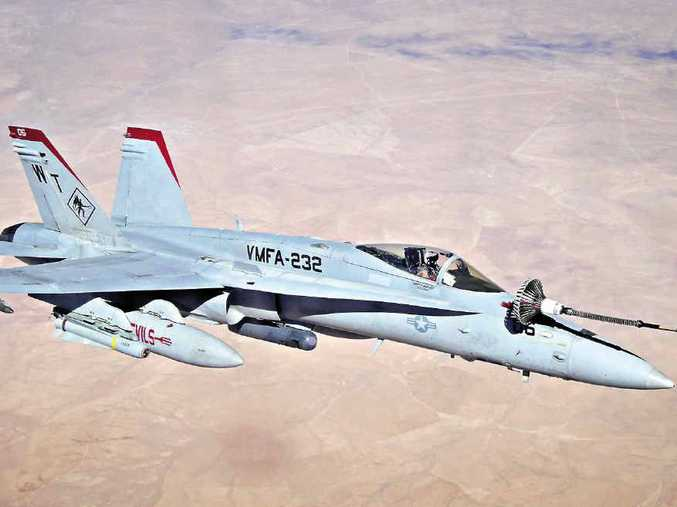 EMERGENCY ACTION: An Amberley based MRTT aircraft carried out air to air refuelling of a stricken United States Marine Corps F/A-18 Hornet in the skies over Iraq.