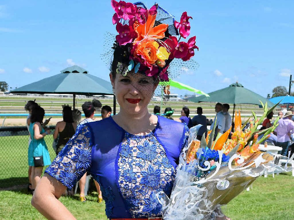 """FROLICKING: First place for Fashions on the Field went to dressmaker Anna Dutton, who hand-stitched her """"one of a kind"""" attire."""