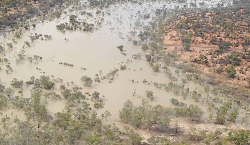 RAIN, RAIN: Aerial photos of John Chandler's Barcaldine property after a weekend of rain.