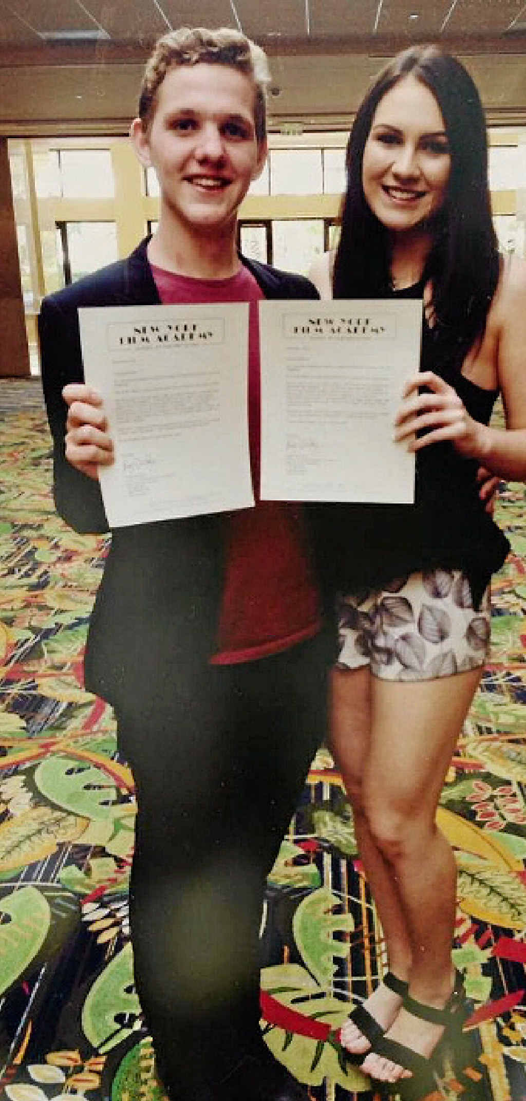OFF TO NY: Rocky triple threats Mackinnley and Ashleigh receiving their scholarships.