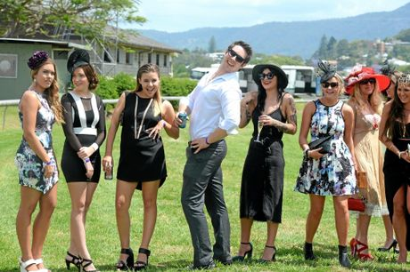 Competitors in the womens fashion on the fields at the Murwillumbah races on Melbourne cup day.