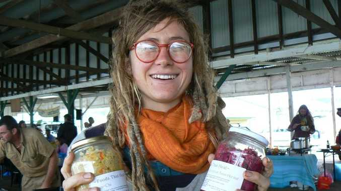 VALUE ADDED: Carla Muhling of Nimbin promotes the value of fermented foods at the Lismore organic farmers' market. Photo by Jamie Brown / The Northern Star