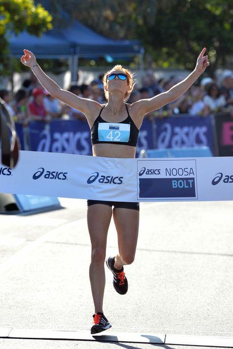 Noosa Triathlon Multi Sport Festival. October 31, 2015. Bolt, 5km run. Winner, women, Eloise Wellings.