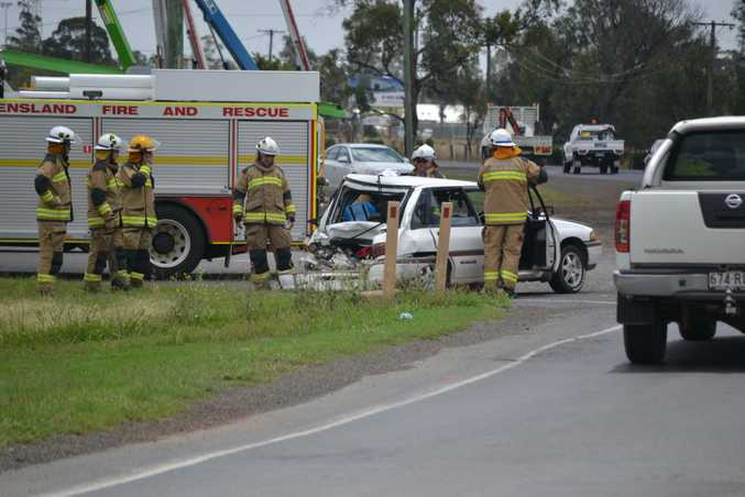 A four-door hatchback was written off by a collision on Drayton St, Dalby, yesterday. Photo Alasdair Young / Chinchilla News