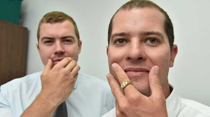 Movember - Hervey Bay police (L) Plain Clothes Constable Mitchell Harris and Plain Clothes Snr. Cnst Tim Visentin with the makings of their moustaches. Photo: Alistair Brightman / Fraser Coast Chronicle