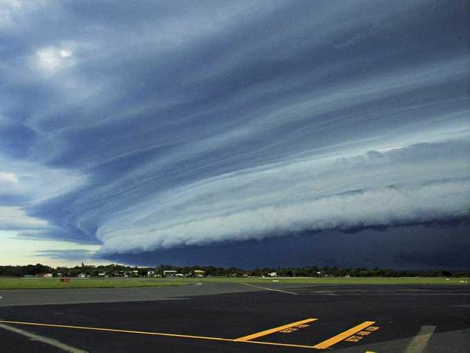 Shane Loweke's photograph of shelf cloud taken at the Sunshine Coast Airport appears on the April page of the Bureau of Meteorology's 2016 Australian Weather Calendar.