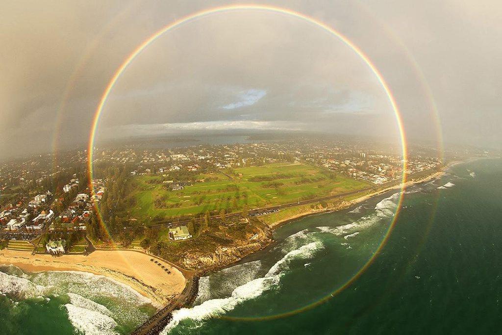 November - Full-circle rainbow over Cottesloe Beach, Western Australia.