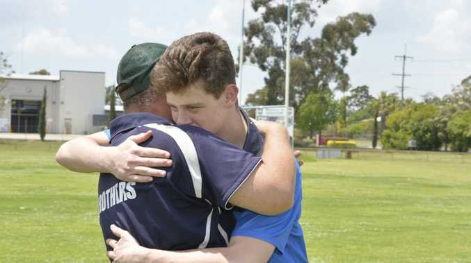 THANKS COACH: Fifteen-year-old Connor Sharpe thanks his coach, Jason Brookes who performed CPR while waiting for paramedics to arrive after Connor went into cardiac arrest at the Brothers Leagues Club.